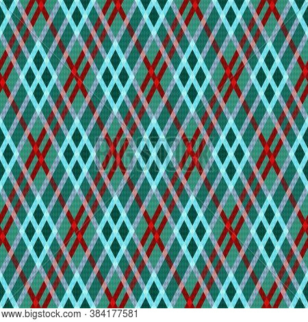 Rhombic Seamless Vector Pattern As A Tartan Plaid Mainly In Green Hues With Blue And Red Lines, Text