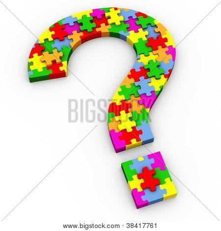 3D Puzzle-Fragezeichen