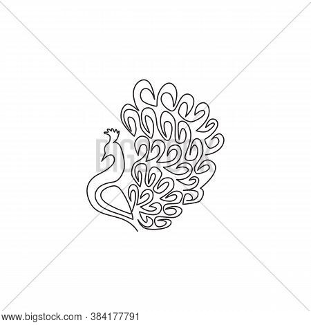 One Continuous Line Drawing Of Beauty Adorable Peacock For Company Logo Identity. Big Pretty Bird Ma