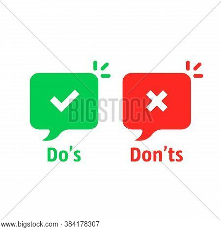 Positive And Negative Check Marks. Concept Of Do S And Don Ts Checkmarks Sign Or Okay Or Fail For Ch
