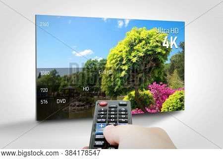 4k Resolution Display With Comparison Of Resolutions. Tv Screen Panel Conceptual Graphic.