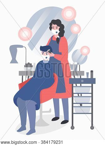Coronavirus Prevention In Beauty Salons. Woman Hair Stylist Services A Man Client, Both Wearing Mask
