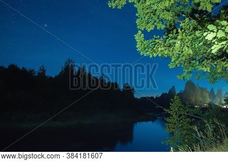 Night Sky In Nature, View Of The Night Sky From The Tent Camp. Night Sky In The Forest. Night Sky Wi