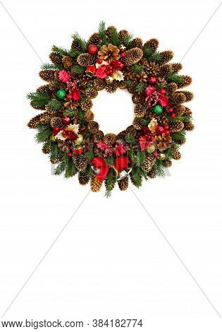 Christmas Decoration. Christmas Wreath Of Cones Spruce, Cones Pine, Branch Christmas Tree, Red Holly