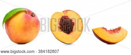 Fresh peaches set isolated. Organic nectarine or peach slice with leaf on white background. Cut out with clipping path