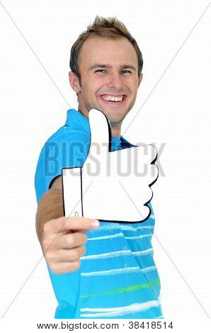 Young man with positiveness acceptance or like gesture