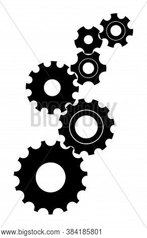 Gear Cog Icons. Cogwheel From Engine Machinery. Mechanism With Cog Wheels For Work Industry. Factory