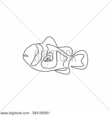 One Continuous Line Drawing Of Adorable Clown Fish For Sea Water Aquarium Logo Identity. Stripped An