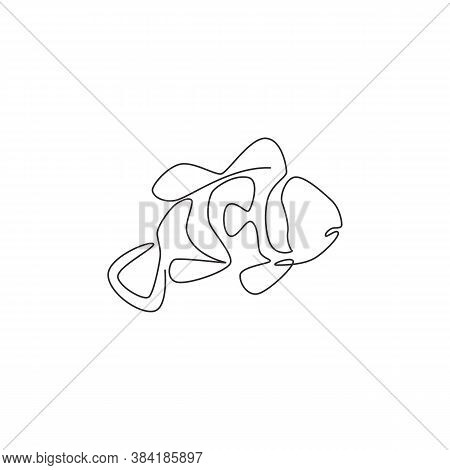 Single Continuous Line Drawing Of Funny Clown Fish For Logo Identity. Stripped Anemonefish Mascot Co