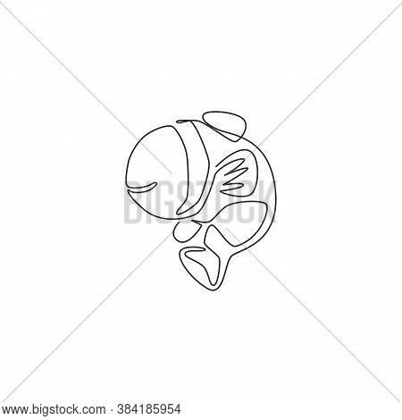 One Single Line Drawing Of Cute Clownfish For Aquatic Logo Identity. Stripped Anemone Fish Mascot Co