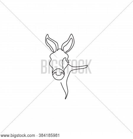 One Single Line Drawing Of Cute Donkey Head For Farm Logo Identity. Little Horse Mascot Concept For