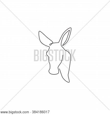 Single Continuous Line Drawing Of Walking Donkey For Ranch Logo Identity. Tiny Horse Size Mascot Con