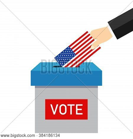Vote 2020 In Usa. Paper Ballot And Box For Presidential Election. Hand Voter With Card Is Symbol Dem