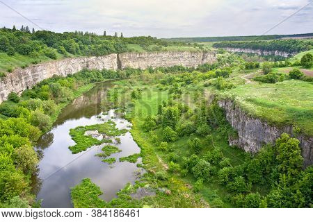 Landscape With Top View Of The River In Canyon With Trees, Glade, Bushes.