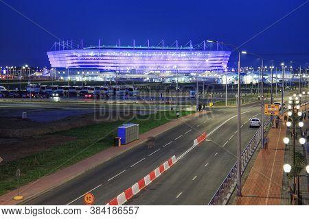 Kaliningrad, Russia - June 16, 2018: Night View Of The Modern Kaliningrad Football Stadium (also Cal