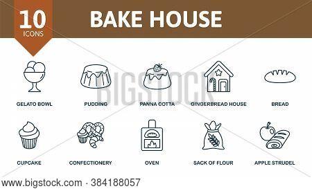 Bake House Icon Set. Collection Contain Apple, Strudel, Pancake, Donut, Apple, Pie, Pretzel, Waffle,