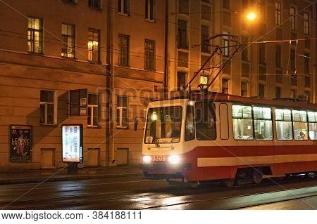 Saint Petersburg, Russia - November 03, 2014: Night Tram In The Center Saint Petersburg (between 192
