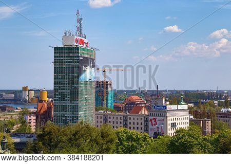 Gdansk, Poland - May 14, 2017: View Of The Skyscrapers Buildings In The Center Of Gdansk.