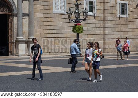 Barcelona, Spain - May 15, 2017: Unknown People On The Placa De Sant Jaume (in English Saint James S