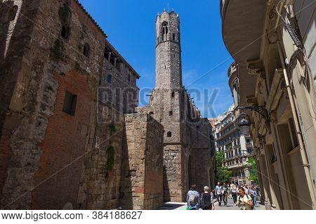Barcelona, Spain - May 15, 2017: View Of The Tower Of The Major Royal Palace In Gothic Quarter Of Ba