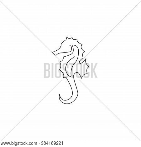 One Continuous Line Drawing Of Adorable Sea Horse For Logo Identity. Little Sea Monster Creature Mas