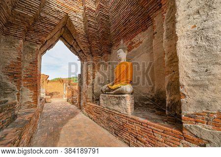 Old Ruins Of Wat Prasat Nakhon Luang Or Nakhon Luang Palace In Phra Nakhon Si Ayutthaya Province, Th