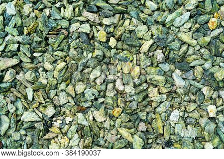Small Green Stones. Green Stones Texture. Natural Background Of Stones. Abstract Background.