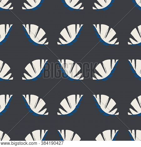 Geometric Mono Print Style Leaves Seamless Vector Pattern Background. Textured Cut Out White Foliage
