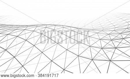 Futuristic White Futuristic Background. Wave With Connecting Dots And Lines On Wave Background. Wave