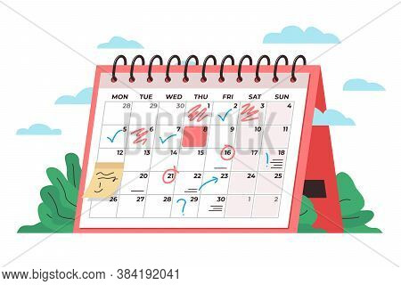 Calendar Time Management Concept. Vector Conceptual Illustration Of A Big Desk Calendar Showing Mont