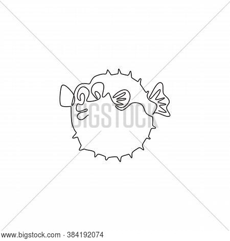 One Continuous Line Drawing Of Cute Pufferfish For Aquatic Logo Identity. Balloon Fish Mascot Concep