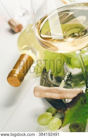 Wine Composition With Glass Of Wine And Grape, Close Up