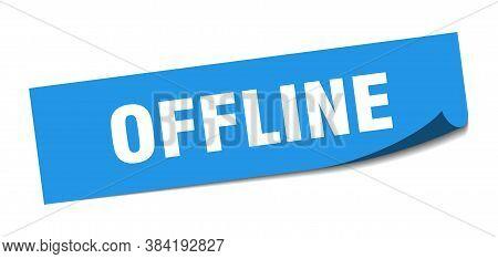 Offline Sticker. Offline Square Sign. Blue Peeler