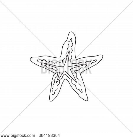 One Single Line Drawing Of Beauty Sea Star For Logo Identity. Starfish Mascot Concept For Asteroidea