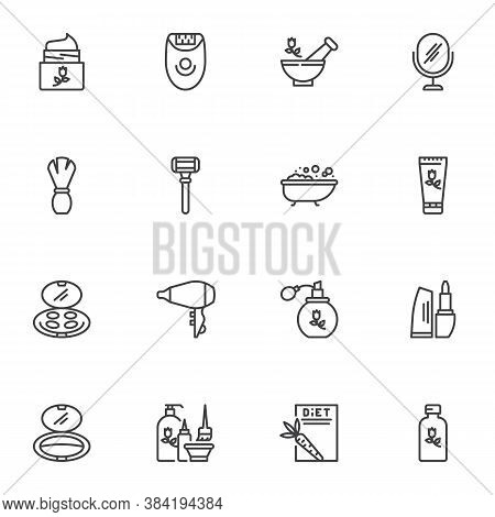 Cosmetics Line Icons Set, Outline Vector Symbol Collection, Linear Style Pictogram Pack. Signs Logo