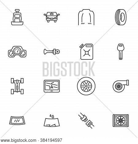 Car Parts Line Icons Set, Outline Vector Symbol Collection, Linear Style Pictogram Pack. Signs, Logo