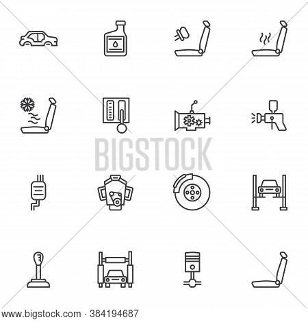 Car Parts Repair Line Icons Set, Outline Vector Symbol Collection, Linear Style Pictogram Pack. Sign