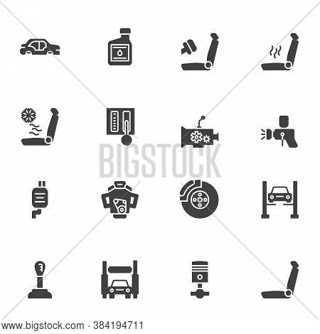 Car Parts Repair Vector Icons Set, Modern Solid Symbol Collection, Filled Style Pictogram Pack. Sign