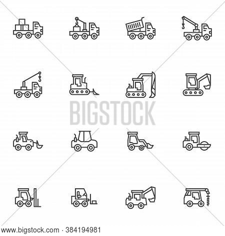 Construction Vehicles Line Icons Set, Outline Vector Symbol Collection, Linear Style Pictogram Pack.