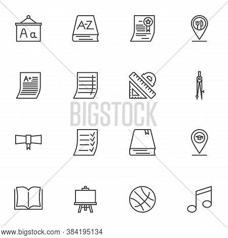 Education Line Icons Set, Outline Vector Symbol Collection, Linear Style Pictogram Pack. Signs, Logo