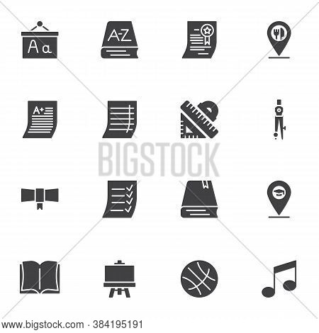 Education Vector Icons Set, Modern Solid Symbol Collection, Filled Style Pictogram Pack. Signs, Logo
