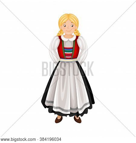 Norwegian Girl In Traditional Clothing With Apron Vector Illustration