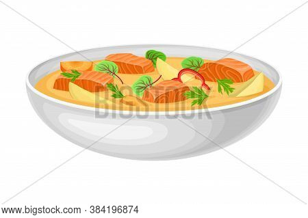 Salmon Soup With Fish Slabs And Vegetables Served In Bowl As National Dish Of Norway Vector Illustra