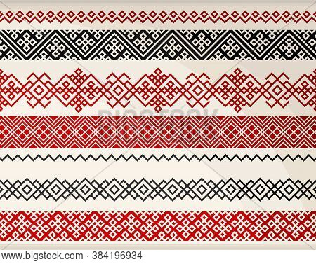 Traditional Norwegian Ornament With Geometric Shapes Vector Illustration