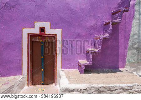 April 9th 2016 At Hampi Karnataka India : Colourful Wall Door And Stair Pattern At Hampi Karnataka I