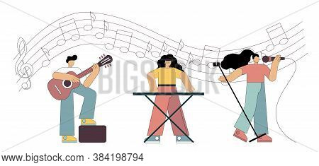 Singer And Musicians. Little People Play In A Group Against The Background Of Notes. Flat Vector Ill