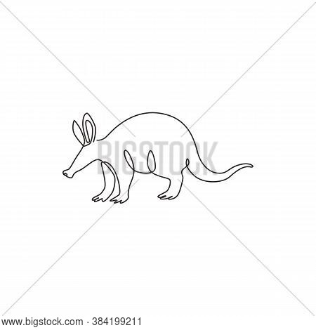 One Single Line Drawing Of Exotic Aardvark For Company Logo Identity. Orycteropus Animal Mascot Conc