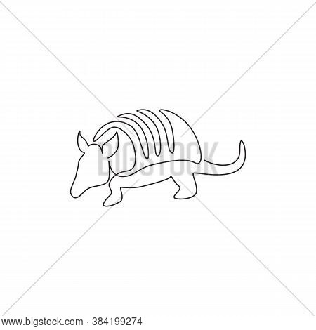 One Single Line Drawing Of Exotic Armadillo For Company Logo Identity. Leathery Armoured Shell Mamma