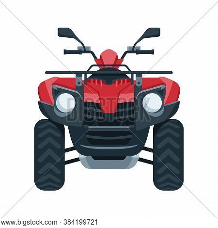 Quad Bike (four Wheel) Vector - Front View Of Four-wheeled Motorcycle In Flat Style - Isolated Icon