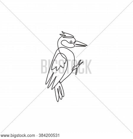 One Single Line Drawing Of Adorable Woodpecker For Company Logo Identity. Cute Bird Mascot Concept F